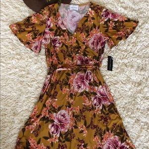 NWT Donna Morgan Flutter Sleeve Floral Wrap Dress
